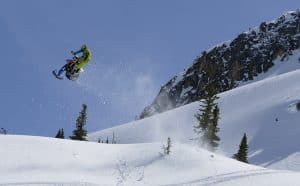 Reagan Sieg Jumps Snow Bike equipped with Fastway Footpegs